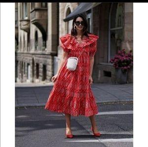 Zara openwork embroidered dress